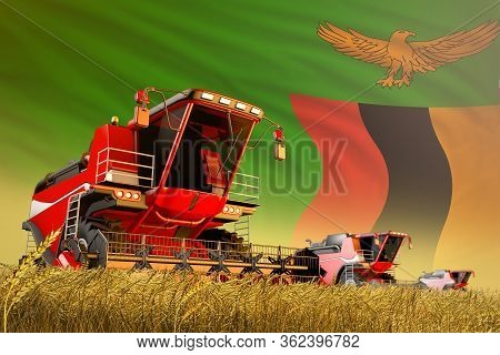 Agricultural Combine Harvester Working On Rye Field With Zambia Flag Background, Food Production Con