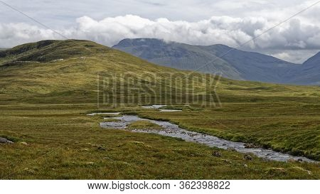 River Bà & Meall Beag (476m) With The Ridge Of Beinn Achaladair (1002m) Behind, From West Highland W