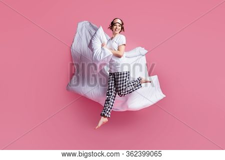 Full Length Photo Of Funny Lady Jump High Hold Pillow Blanket Flight Slumber Party Girls Night Wear