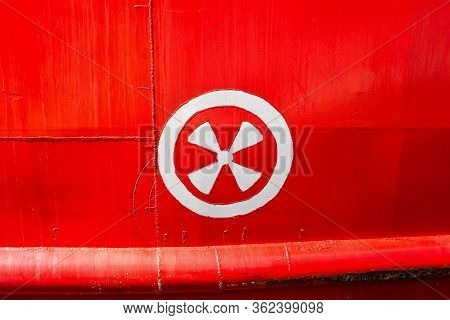 Detail Of A Ship's Hull Markings Of Thruster Position