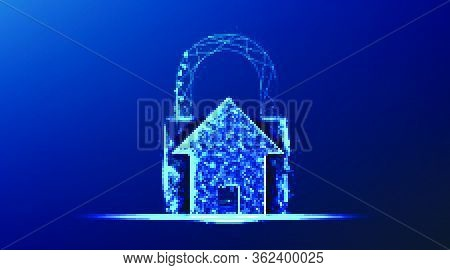 House And Padlock. Protection Security From Crime. Abstract Low Poly Wireframe Mesh Design. From Con