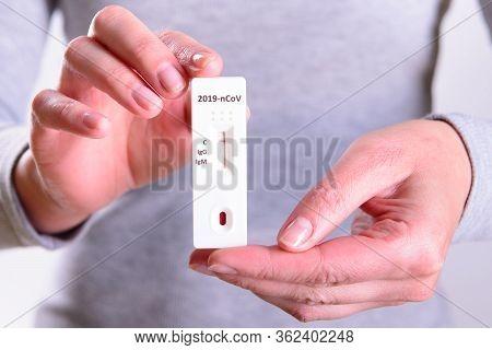 Rapid Covid-19 Coronavirus Strip Test Cassette For Antibody Or Sars-cov-2 Virus Disease In Hands Epi