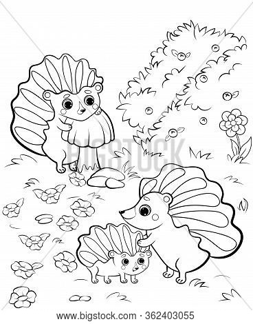 Cute Cartoon Hedgehog Family Vector Coloring Page Outline. Vector Image With Nature Background. Colo