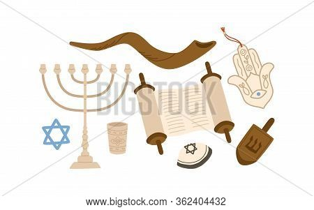 Cartoon Colorful Judaism Symbols Set Vector Flat Illustration. Collection Of Traditional Jewish Attr