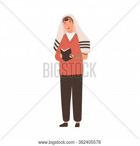 Cartoon Religion Jewish Guy Praying Vector Flat Illustration. Colorful Modern Man In Traditional Jew