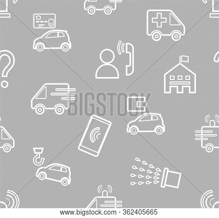 Emergency Services, Seamless Pattern, Contour Pattern, Gray, Monochrome, Flat, Vector. Fine Outline