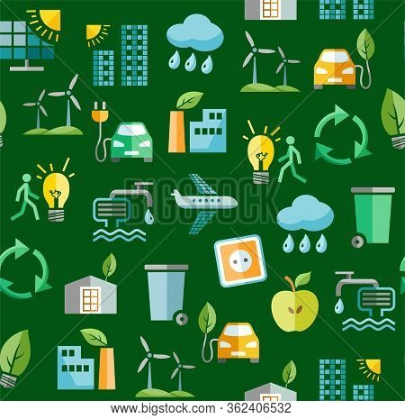 Eco-friendly Technology, Seamless Pattern, Green, Color, Vector. Clean Energy, Fuel And Food Product