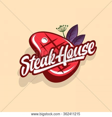 Steak House Logo. Logo Of Butchery Shop Or Restaurant. Calligraphic Composition With Steak And Spicy