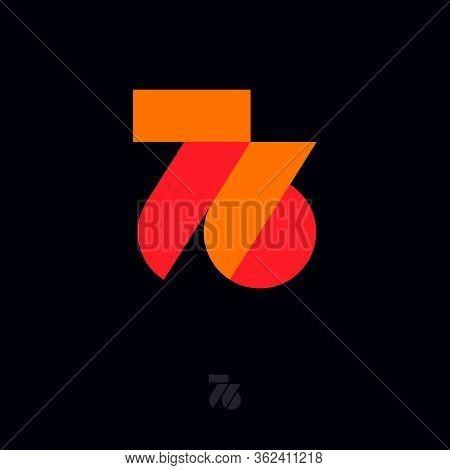 76 Origami Monogram. Orange And Red Ribbons Like Number 67 Initial. Network Icon. Origami Monogram,