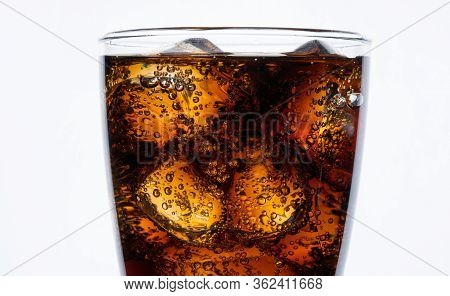 Close Up Cold Drinking, Soda With Ice, Glass Of Cola For Hot And Summer Drink Isolated On White Back