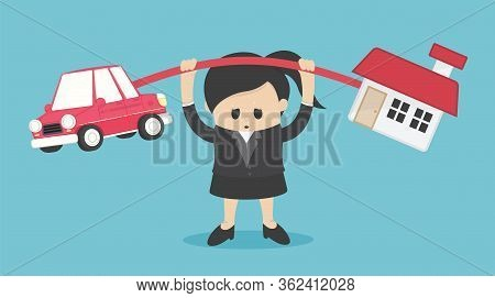 Concept Cartoon Illustration Businesswoman Who Shows A Weary Expression Of The Burden Of Both The Ca