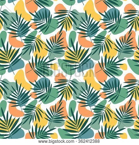 Contemporary Seamless Pattern With Abstract Geometric Shapes And Floral Leaves. Avant-garde Modern C