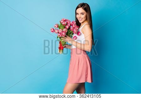 Profile Side Photo Of Lovely Pretty Girlish Lady Hold Big Tulips Bunch She Get On 8-march 14-februar