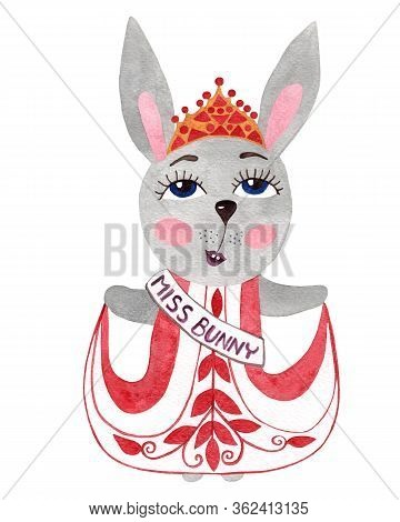 Watercolor Cartoon Bunny In Dress And Crone. Watercolor Rabbit Isolated On White Background.