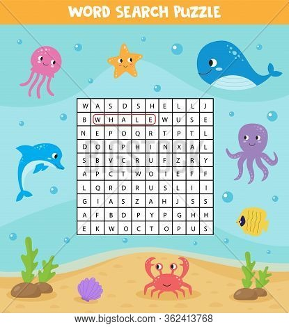 Words Search Puzzle For Kids. Sea Animals. Find The Words In Field. Printable Material. Elementary C