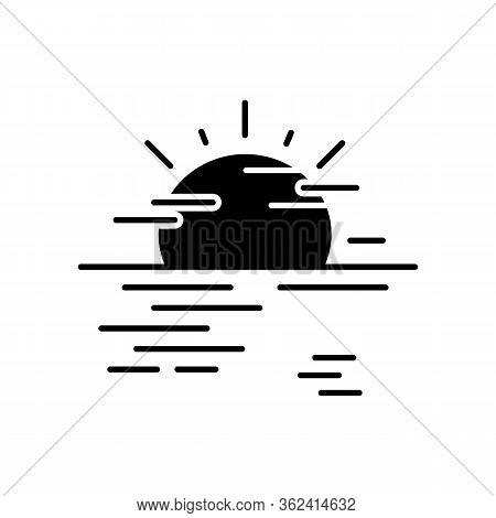 Sea Haze Black Glyph Icon. Morning Fog, Meteorological Forecast, Misty Weather Silhouette Symbol On