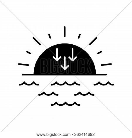 Sunset Black Glyph Icon. Evening, Sundown, Weather Forecasting Silhouette Symbol On White Space. Sea