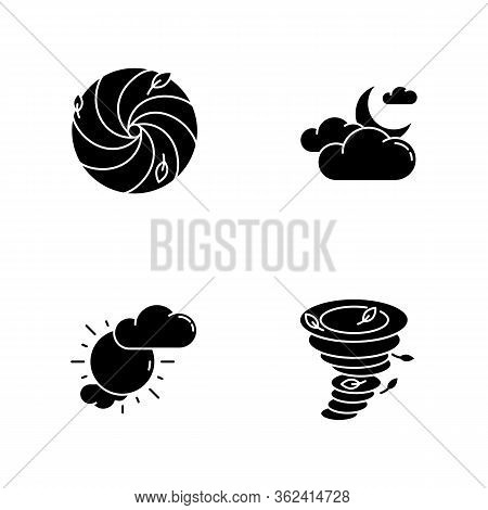 Meteorological Warning Black Glyph Icons Set On White Space. Bad Weather Forecast, Prediction Silhou