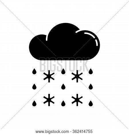 Heavy Snow, Sleet Black Glyph Icon. Winter Weather Forecast, Meteorology Silhouette Symbol On White