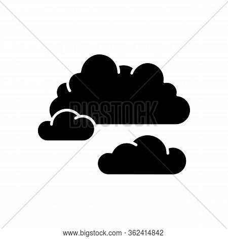 Cloudy Weather Black Glyph Icon. Overcast, Moody Sky, Meteo Forecasting Silhouette Symbol On White S