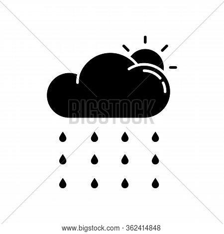 Drizzle Black Glyph Icon. Rainy Season, Summer Rain, Meteorology Silhouette Symbol On White Space. W
