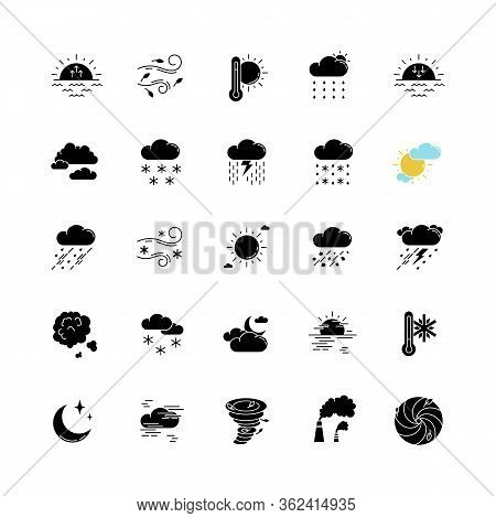 Weather Black Glyph Icons Set On White Space. Meteorology Silhouette Symbols. Sky Condition Predicti
