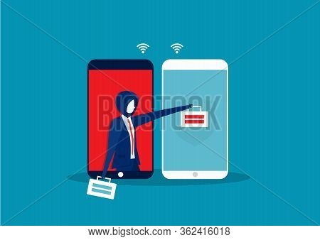 Hackers Attack. Cyber Thief Robbing Change Password Data On Smartphone.