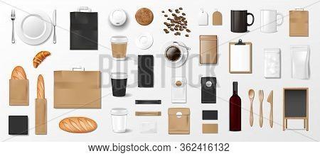 Mockup Set For Bakery Shop, Cafe Or Restaurant. Brand Identity Template. Realistic Bakery Shop Eleme