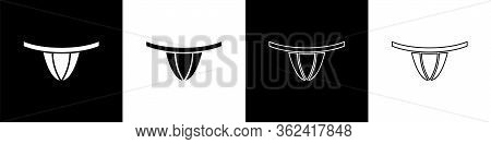 Set Woman Panties Icon Isolated On Black And White Background. Girls Underpants. Lady Lingerie. Vect