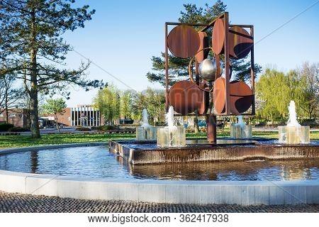 Billund, Denmark - 25 April 2014: Small Cozy City Billund. Houses Around Legoland In Billund