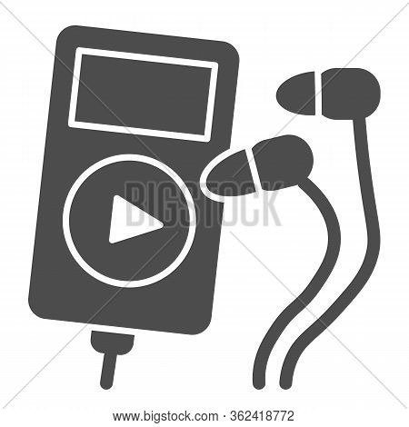 Player And Headphones Solid Icon. Small Mp3 Player For Sport Illustration Isolated On White Music Pl