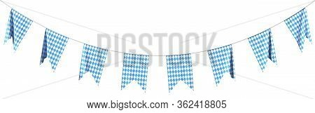 Oktoberfest Party Flags Garland Bunting Of Bavarian Checkered Blue Flag With Blue-white Checkered Pa