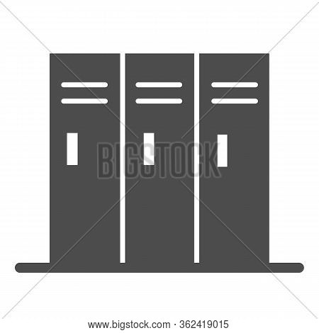 Sport Lockers Solid Icon. Locker Or Cabinet For Gym Or Stadium Illustration Isolated On White. Three