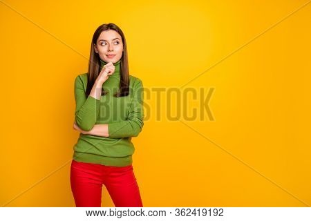Portrait Of Dreamy Interested Girl Think Thoughts About Future Plan Weekends Wear Stylish Clothes Is