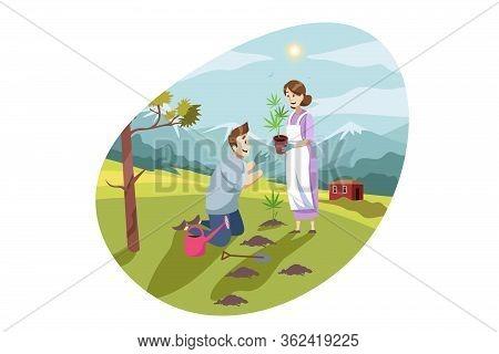 Marijuana, Cannabis, Gardening, Farming, Planting Concept. Young Couple Man Woman Husband Wife Plant