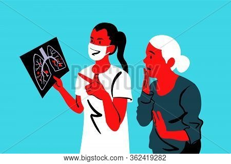 Diagnosis, Danger, Covid19, Infection, Xray, 2019ncov, Coronavirus Concept. Woman Doctor In Medical
