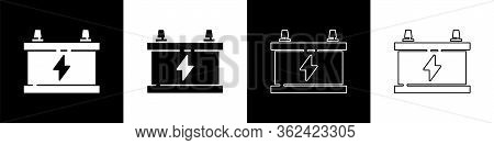 Set Car Battery Icon Isolated On Black And White Background. Accumulator Battery Energy Power And El