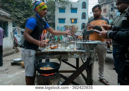 Kolkata, West Bengal, India - 16th December, 2018 : Bread Fry, A Chinese Breakfast, Being Prepared A