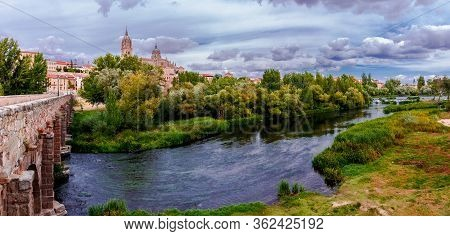 Beautiful Picturesque Panoramic View Of The Salamanca Cathedral And Landscape Over Tormes River. Spa