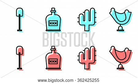Set Line Cactus, Shovel, Alcohol Drink Rum Bottle And Wild West Saddle Icon. Vector