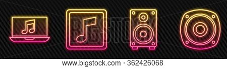Set Line Stereo Speaker, Laptop With Music Note, Music Note, Tone And Stereo Speaker. Glowing Neon I