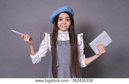 A Graceful Young Beautiful Emotional Lady, A Schoolgirl, A Long-haired Brunette, In A Stylish Blue B