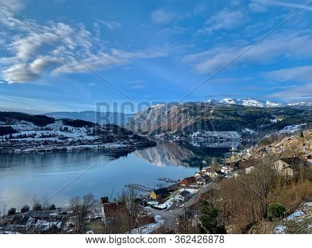 View over Hardangerfjord and Ulvik town in Norway