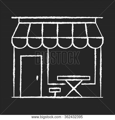 Cafe Front Chalk White Icon On Black Background. Coffeeshop Storefront. Cafeteria Exterior. Bistro B
