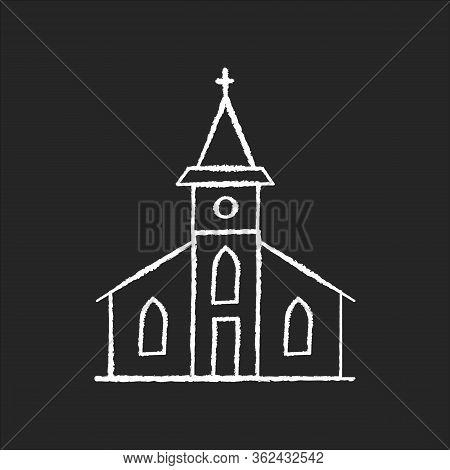 Catholic Church Chalk White Icon On Black Background. Religious Establishment With Cross On Roof. Ch