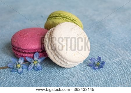 White, Pistachio And Red Macaroons And Spring Flower On A Linen Napkin. Macarons Or Macaroons Is Fre