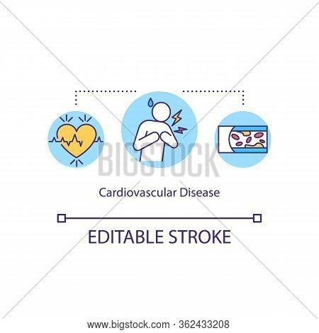 Cardiovascular Disease Concept Icon. Myocardial Infarction Idea Thin Line Illustration. Cardiac Dysr