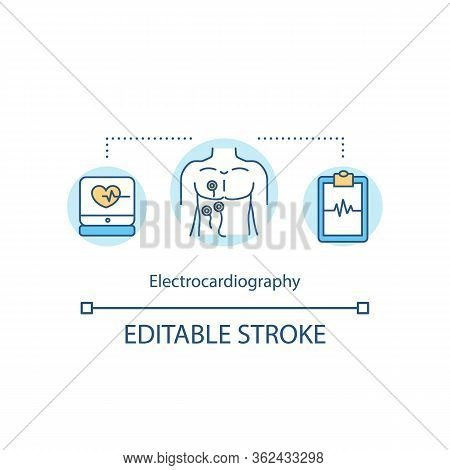 Electrocardiography Concept Icon. Cardiac Screening Idea Thin Line Illustration. Heart Rate And Rhyt