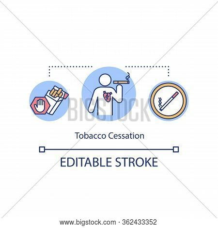 Tobacco Cessation Concept Icon. Bad Habit Idea Thin Line Illustration. Quitting Smoking. Nicotine Wi