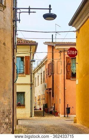 Old street in San Giovanni in Marignano, Italy - Italian cityscape